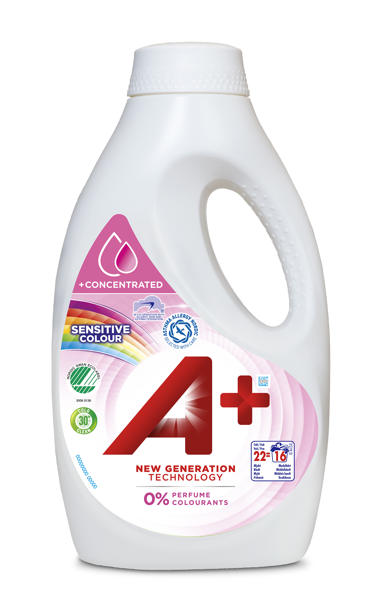 A+ Sensitive Colour 22 tvÑttar 880 ml SM